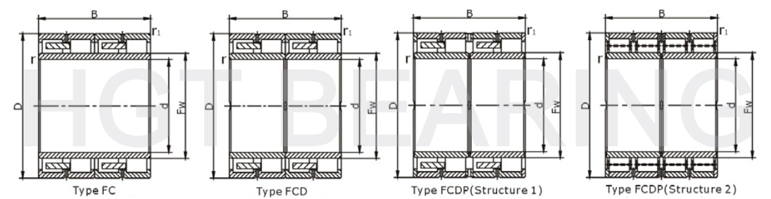 Four-row cylindrical roller bearings assembly drawing